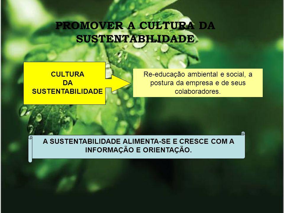PROMOVER A CULTURA DA SUSTENTABILIDADE Re-educação ambiental e social, a postura da empresa e de seus colaboradores. CULTURA DA SUSTENTABILIDADE A SUS
