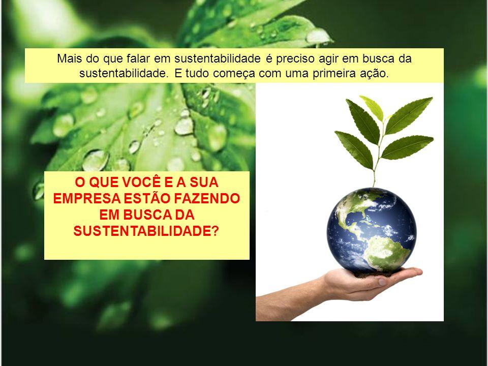 Mais do que falar em sustentabilidade é preciso agir em busca da sustentabilidade. E tudo começa com uma primeira ação. O QUE VOCÊ E A SUA EMPRESA EST