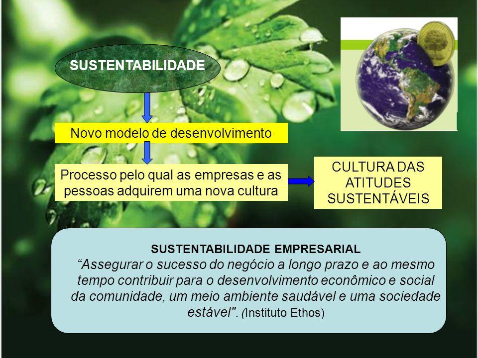 SUSTENTABILIDADE Novo modelo de desenvolvimento Processo pelo qual as empresas e as pessoas adquirem uma nova cultura CULTURA DAS ATITUDES SUSTENTÁVEI