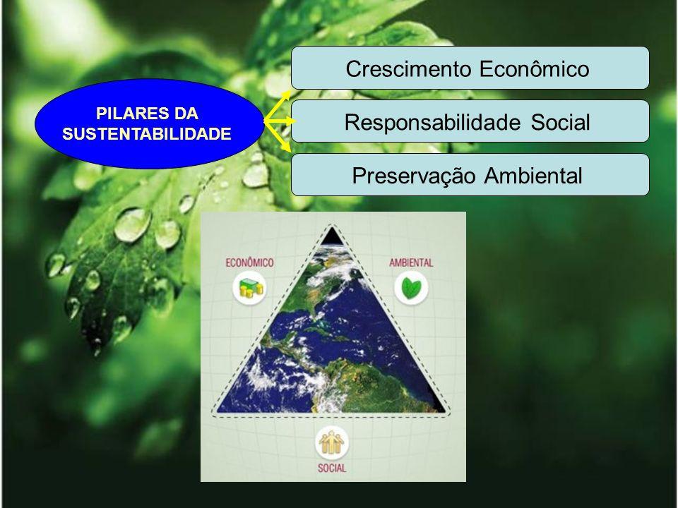 PILARES DA SUSTENTABILIDADE Crescimento Econômico Responsabilidade Social Preservação Ambiental