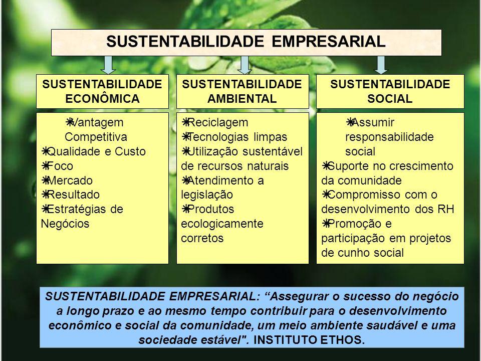 SUSTENTABILIDADE EMPRESARIAL Assumir responsabilidade social Suporte no crescimento da comunidade Compromisso com o desenvolvimento dos RH Promoção e
