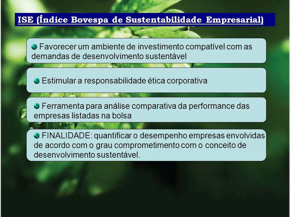 ISE (Índice Bovespa de Sustentabilidade Empresarial) Favorecer um ambiente de investimento compatível com as demandas de desenvolvimento sustentável E