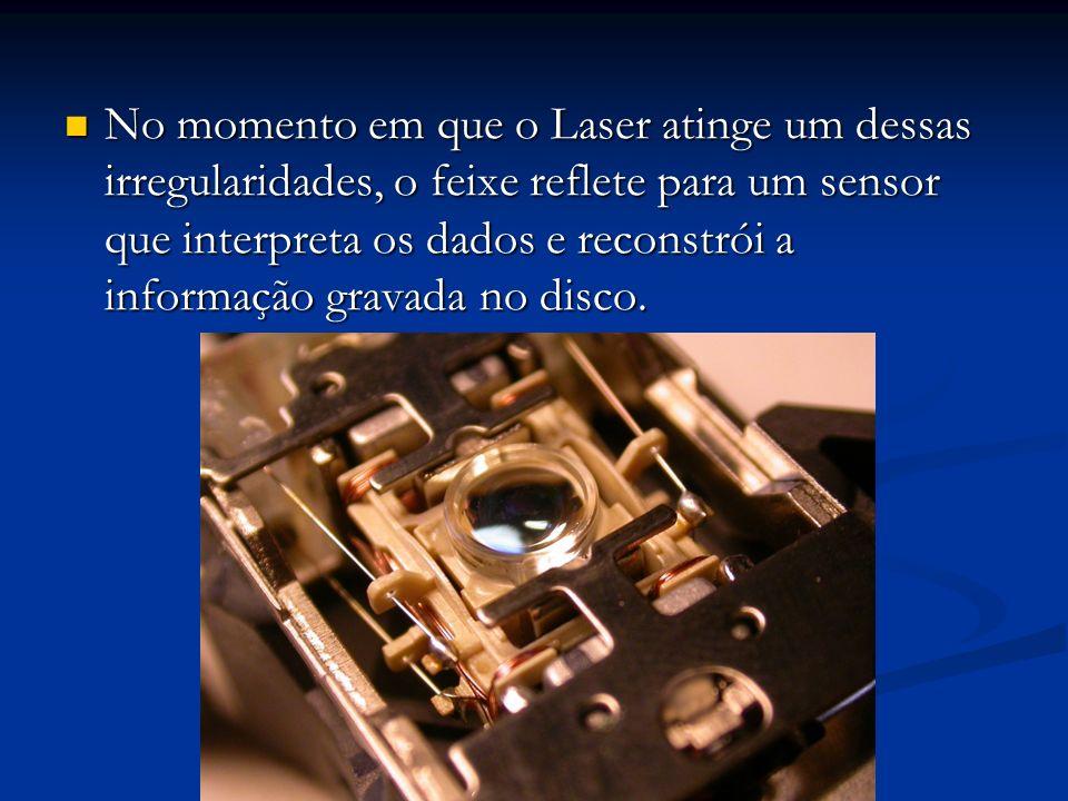 No momento em que o Laser atinge um dessas irregularidades, o feixe reflete para um sensor que interpreta os dados e reconstrói a informação gravada n