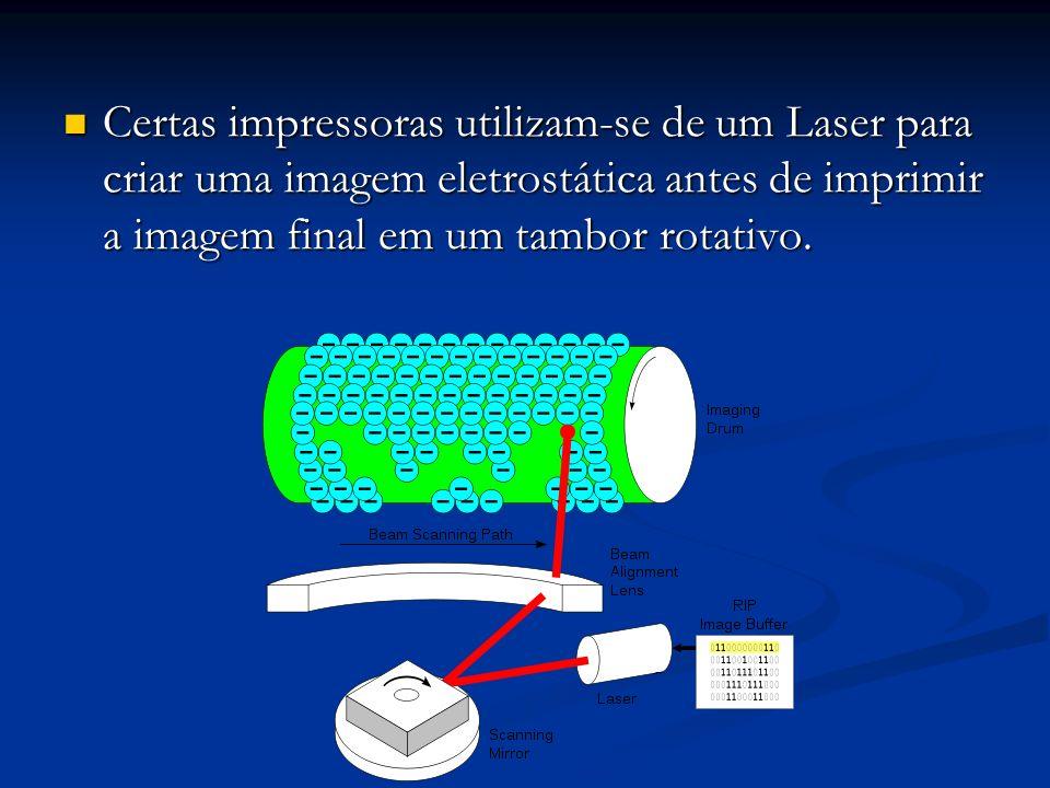 Certas impressoras utilizam-se de um Laser para criar uma imagem eletrostática antes de imprimir a imagem final em um tambor rotativo. Certas impresso