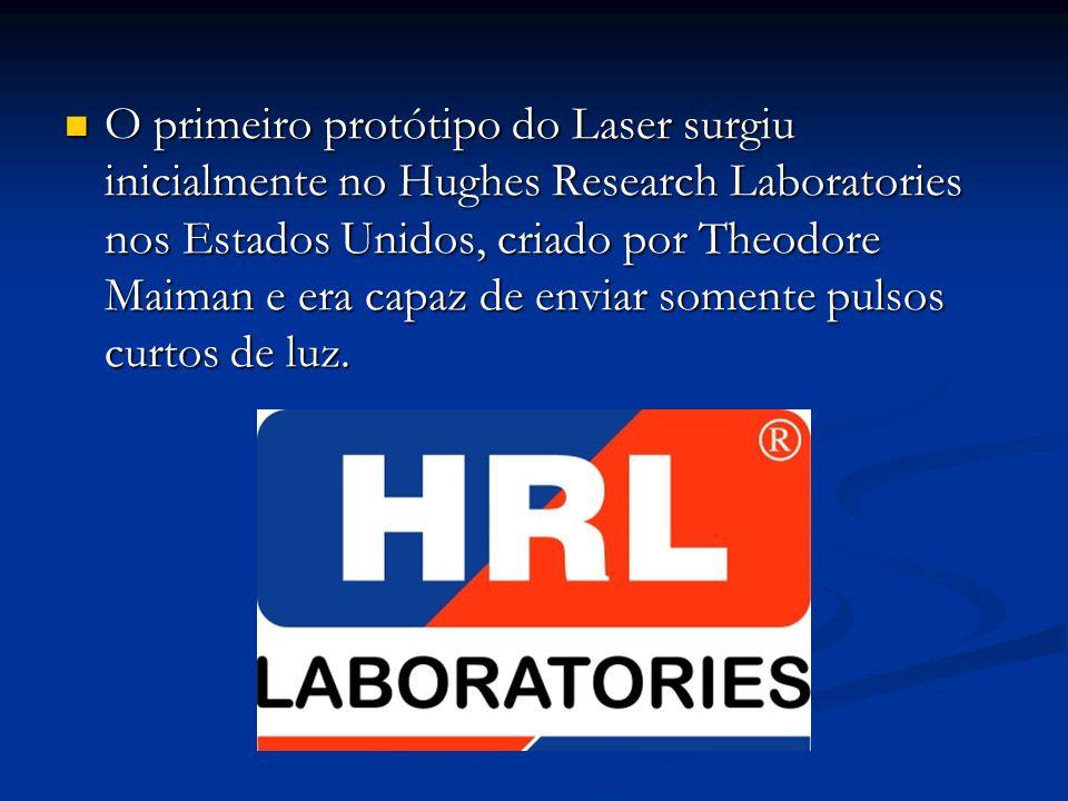 O primeiro protótipo do Laser surgiu inicialmente no Hughes Research Laboratories nos Estados Unidos, criado por Theodore Maiman e era capaz de enviar