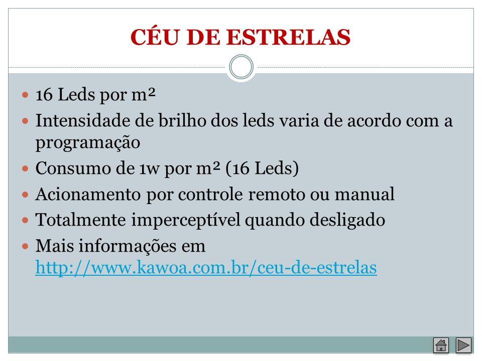 CÉU DE ESTRELAS 16 Leds por m² Intensidade de brilho dos leds varia de acordo com a programação Consumo de 1w por m² (16 Leds) Acionamento por control