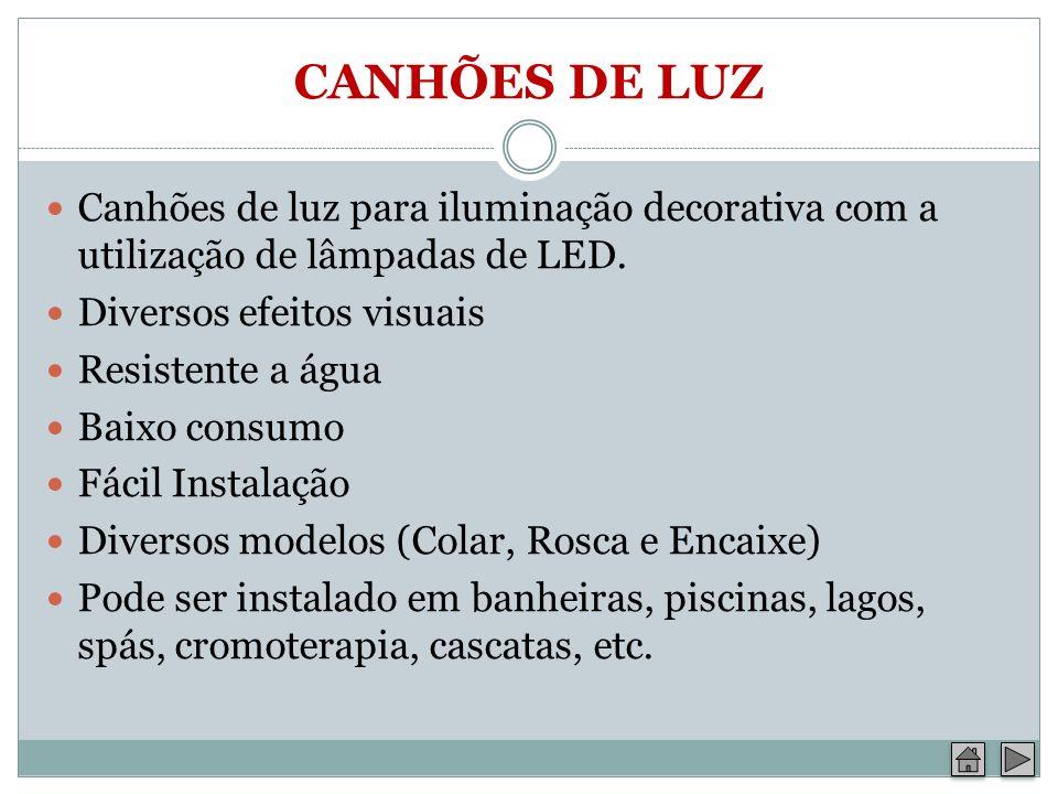 CANHÕES DE LUZ Canhões de luz para iluminação decorativa com a utilização de lâmpadas de LED. Diversos efeitos visuais Resistente a água Baixo consumo