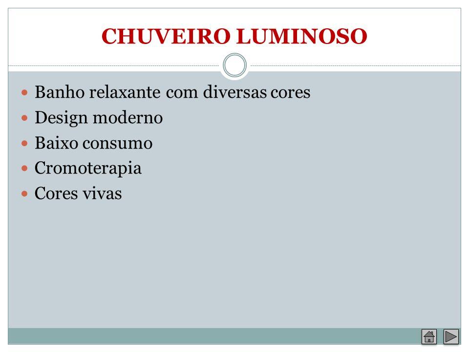 CHUVEIRO LUMINOSO Banho relaxante com diversas cores Design moderno Baixo consumo Cromoterapia Cores vivas