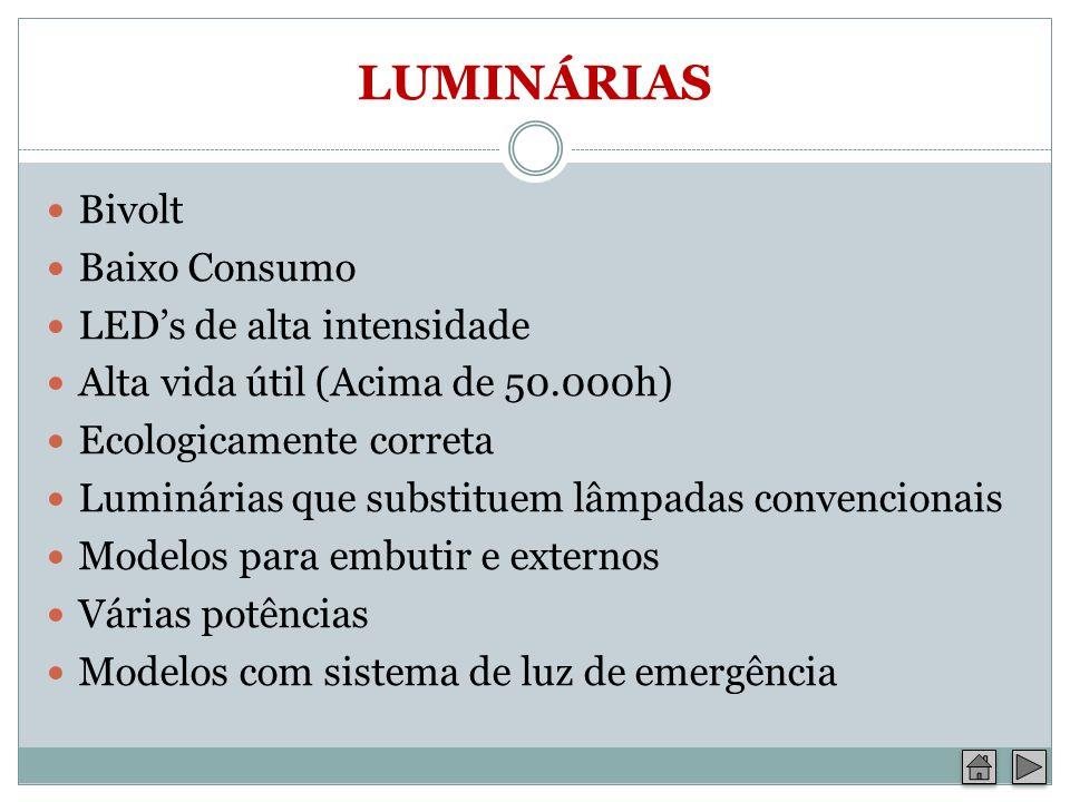 LUMINÁRIAS Bivolt Baixo Consumo LEDs de alta intensidade Alta vida útil (Acima de 50.000h) Ecologicamente correta Luminárias que substituem lâmpadas c