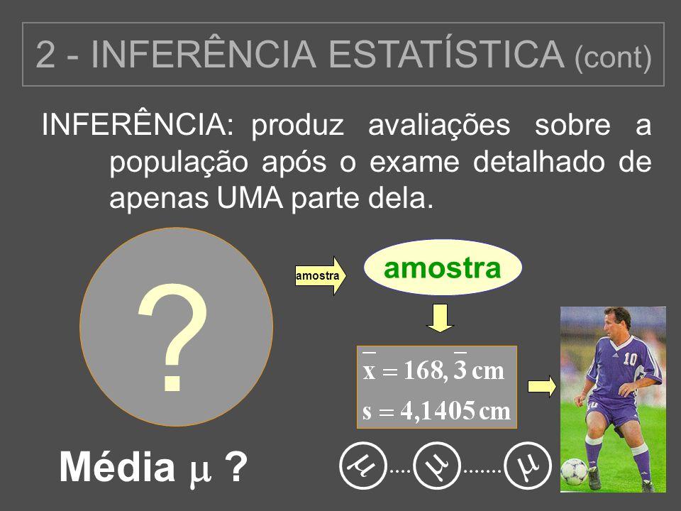 15 produz avaliações sobre a população após o exame detalhado de apenas UMA parte dela. INFERÊNCIA: ? 2 - INFERÊNCIA ESTATÍSTICA (cont) Média ? amostr
