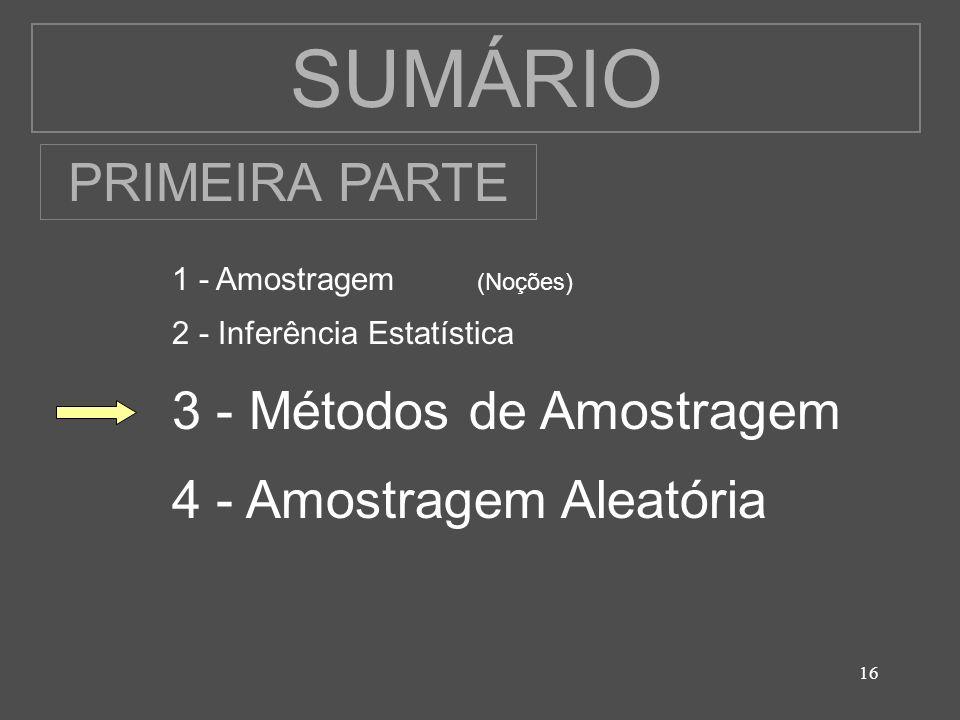 16 SUMÁRIO 1 - Amostragem (Noções) 2 - Inferência Estatística 3 - Métodos de Amostragem 4 - Amostragem Aleatória PRIMEIRA PARTE
