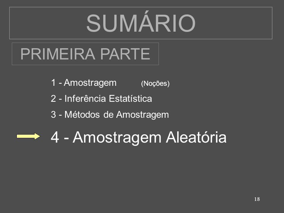 18 SUMÁRIO 1 - Amostragem (Noções) 2 - Inferência Estatística 3 - Métodos de Amostragem 4 - Amostragem Aleatória PRIMEIRA PARTE