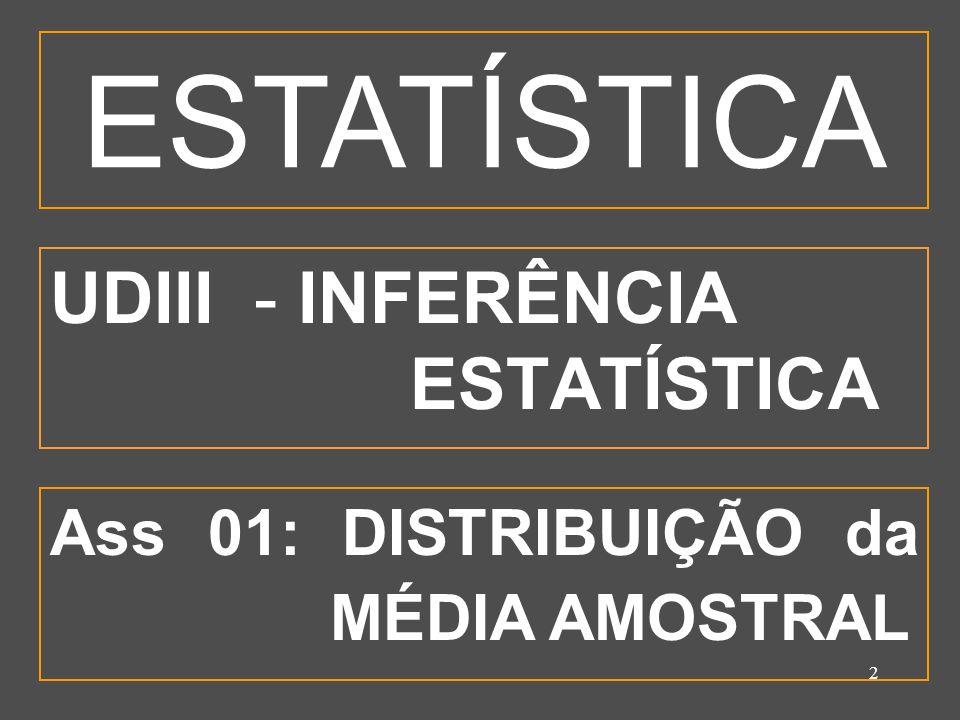2 UDIII - INFERÊNCIA ESTATÍSTICA Ass 01: DISTRIBUIÇÃO da MÉDIA AMOSTRAL ESTATÍSTICA