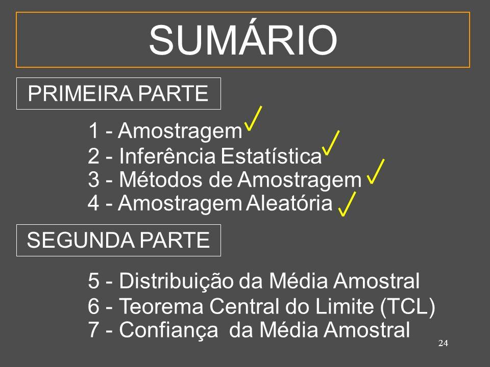 24 SUMÁRIO 1 - Amostragem 2 - Inferência Estatística 3 - Métodos de Amostragem 4 - Amostragem Aleatória 5 - Distribuição da Média Amostral 6 - Teorema