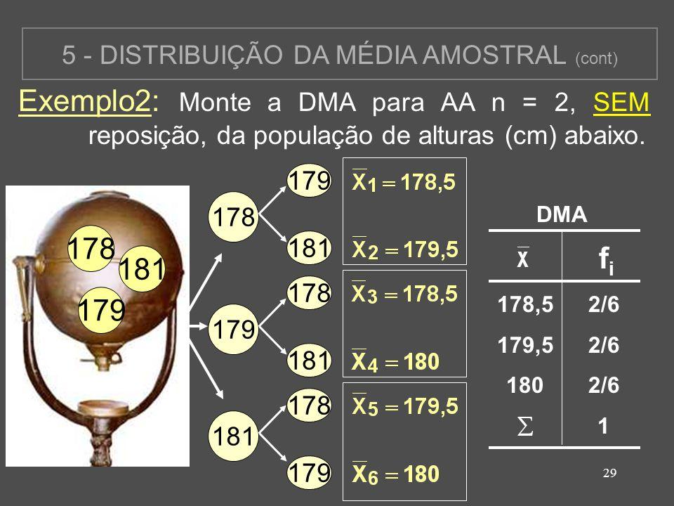 29 5 - DISTRIBUIÇÃO DA MÉDIA AMOSTRAL (cont) Exemplo2: Monte a DMA para AA n = 2, SEM reposição, da população de alturas (cm) abaixo. 178 179 181 178