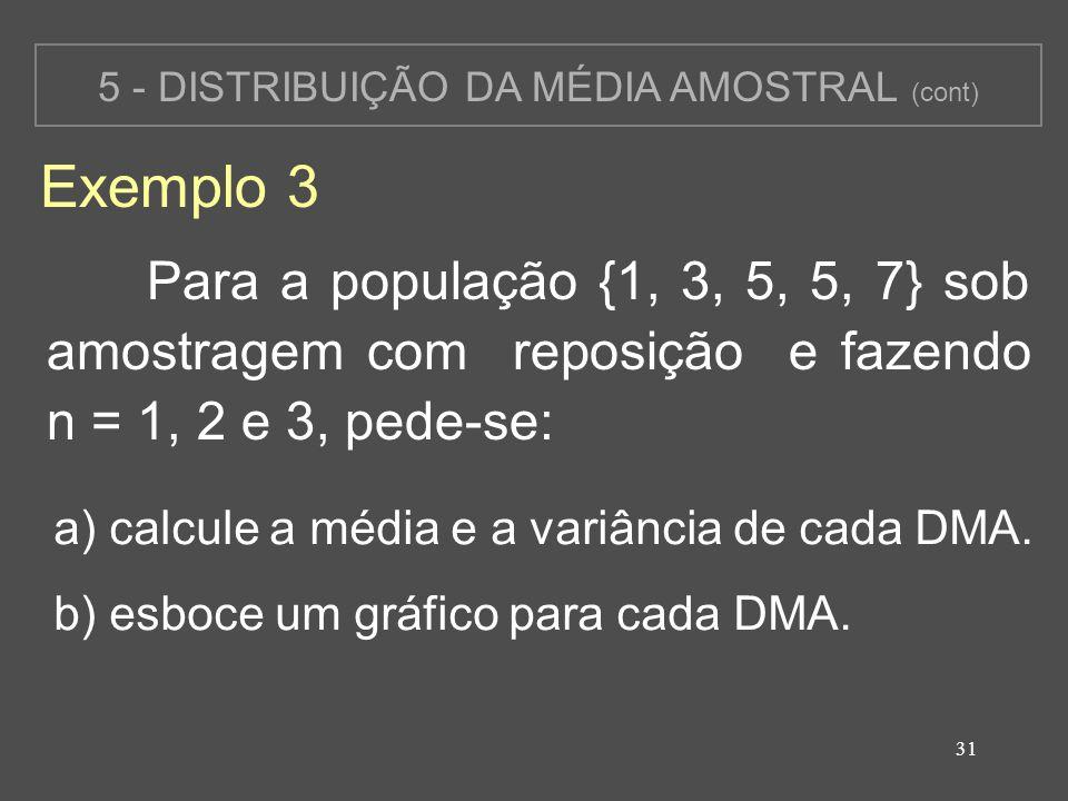 31 5 - DISTRIBUIÇÃO DA MÉDIA AMOSTRAL (cont) Exemplo 3 Para a população {1, 3, 5, 5, 7} sob amostragem com reposição e fazendo n = 1, 2 e 3, pede-se: