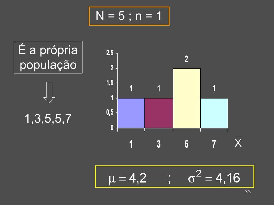 32 1,3,5,5,7 É a própria população N = 5 ; n = 1