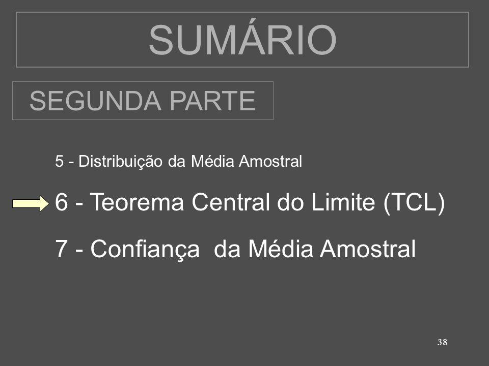 38 SUMÁRIO 5 - Distribuição da Média Amostral 6 - Teorema Central do Limite (TCL) 7 - Confiança da Média Amostral SEGUNDA PARTE