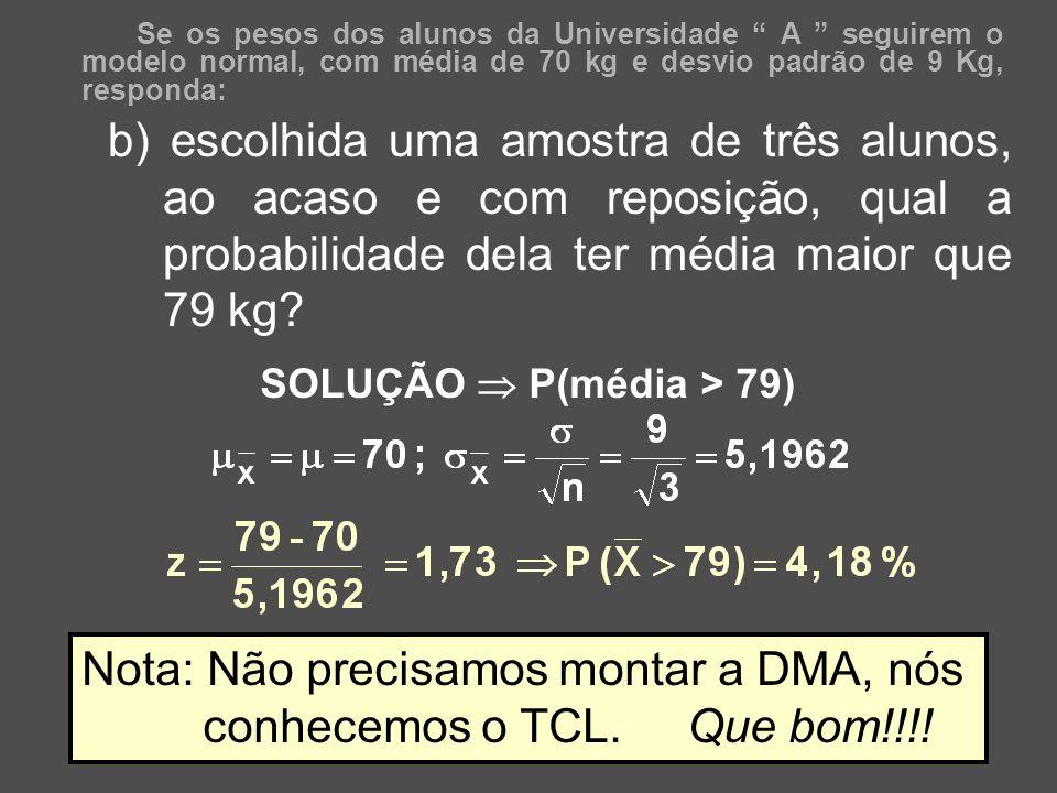 44 Se os pesos dos alunos da Universidade A seguirem o modelo normal, com média de 70 kg e desvio padrão de 9 Kg, responda: b) escolhida uma amostra d