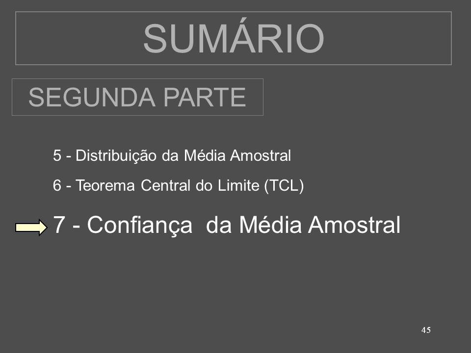 45 SUMÁRIO 5 - Distribuição da Média Amostral 6 - Teorema Central do Limite (TCL) 7 - Confiança da Média Amostral SEGUNDA PARTE