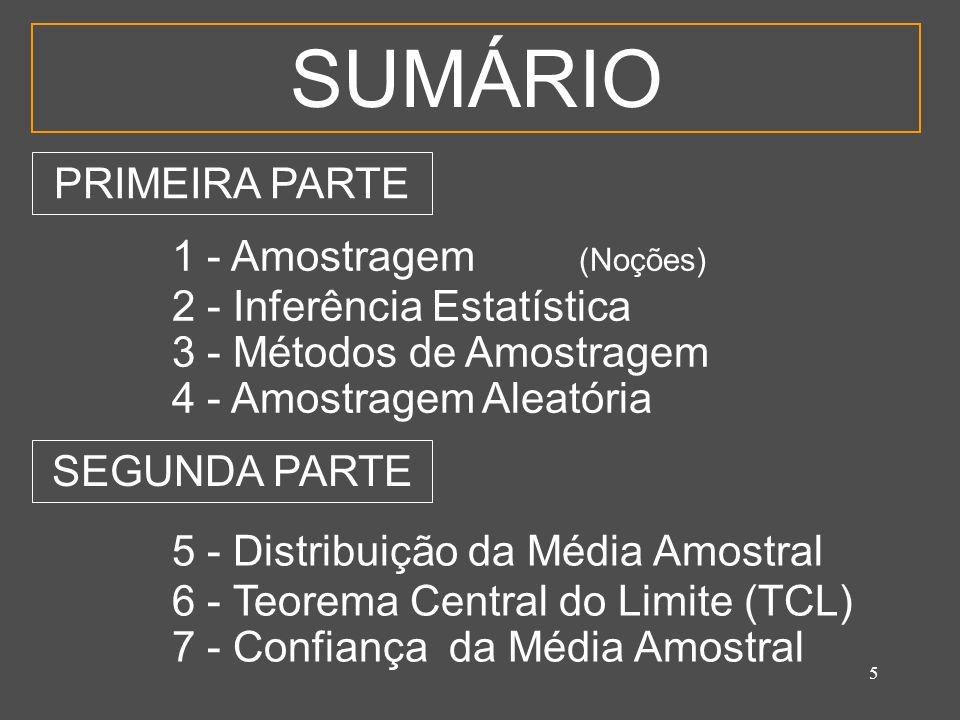 5 SUMÁRIO 1 - Amostragem (Noções) 2 - Inferência Estatística 3 - Métodos de Amostragem 4 - Amostragem Aleatória 5 - Distribuição da Média Amostral 6 -