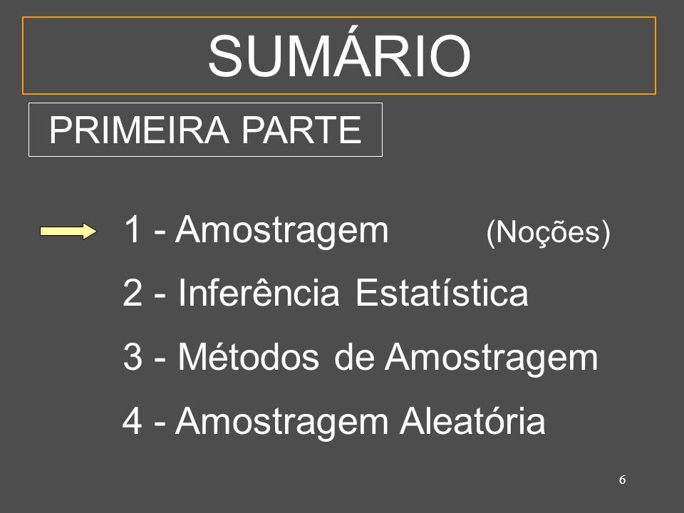 6 SUMÁRIO 1 - Amostragem (Noções) 2 - Inferência Estatística 3 - Métodos de Amostragem 4 - Amostragem Aleatória PRIMEIRA PARTE