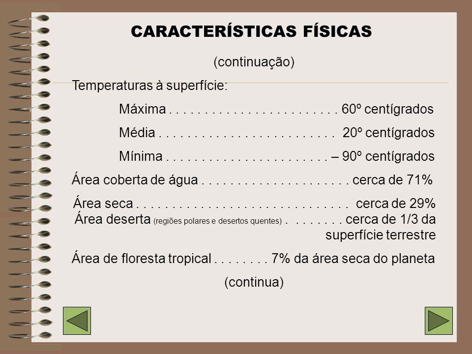 CARACTERÍSTICAS FÍSICAS Diâmetro (no Equador)...................... 12.756 km Raio polar................................. 6356,7 km Massa.............