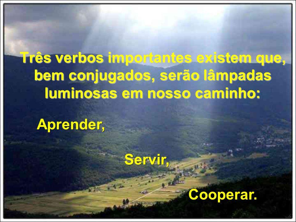 Três verbos importantes existem que, bem conjugados, serão lâmpadas luminosas em nosso caminho: Aprender, Servir, Cooperar.