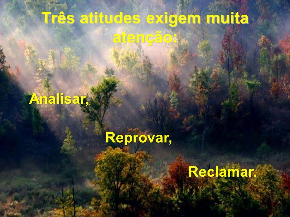 Três atitudes exigem muita atenção: Analisar, Reprovar, Reclamar.