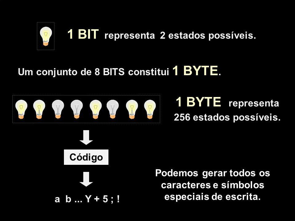 1 BYTE representa 256 estados possíveis. 1 BIT representa 2 estados possíveis. a b... Y + 5 ; ! Código Podemos gerar todos os caracteres e símbolos es