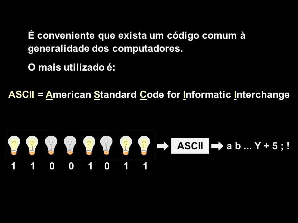 a b... Y + 5 ; !ASCII 1 1 0 0 1 0 1 1 É conveniente que exista um código comum à generalidade dos computadores. O mais utilizado é: ASCII = American S