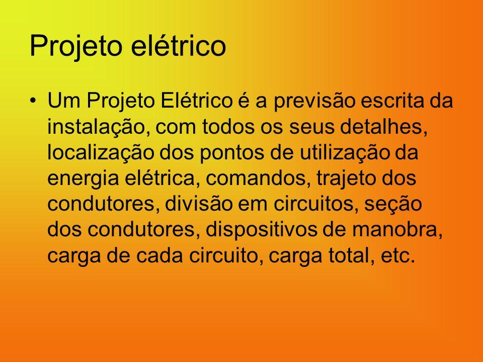 Projeto elétrico Um Projeto Elétrico é a previsão escrita da instalação, com todos os seus detalhes, localização dos pontos de utilização da energia elétrica, comandos, trajeto dos condutores, divisão em circuitos, seção dos condutores, dispositivos de manobra, carga de cada circuito, carga total, etc.