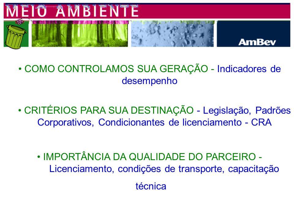 FILIAL CAMAÇARI MANUTENÇÃO RESÍDUO DE ÓLEO LUBRIFICANTE TRAPOS CONTAMINADOS COM ÓLEO - INCINERAÇÃO SUCATA METÁLICA LÂMPADAS ENGARRAFAMENTO CACO DE VID