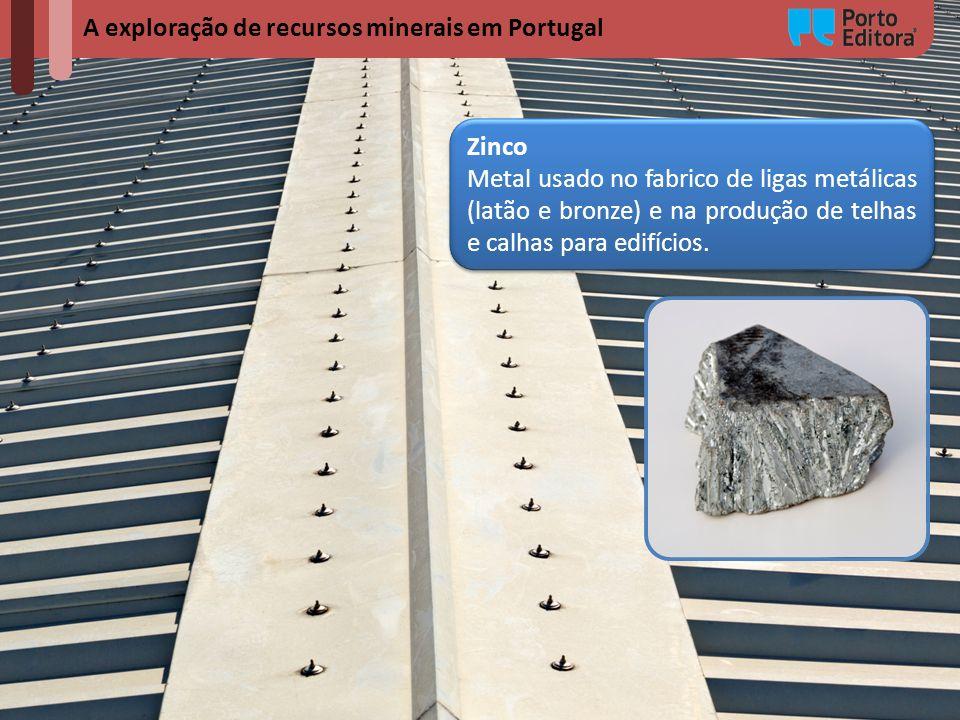 A exploração de recursos minerais em Portugal Zinco Metal usado no fabrico de ligas metálicas (latão e bronze) e na produção de telhas e calhas para e