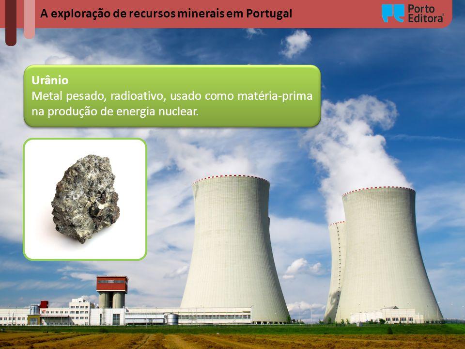 A exploração de recursos minerais em Portugal Urânio Metal pesado, radioativo, usado como matéria-prima na produção de energia nuclear. Urânio Metal p