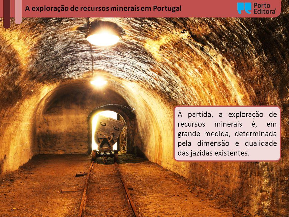 A exploração de recursos minerais em Portugal À partida, a exploração de recursos minerais é, em grande medida, determinada pela dimensão e qualidade