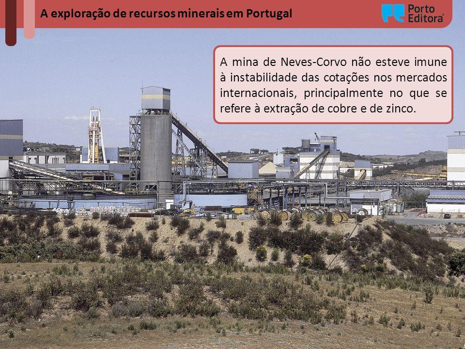 A exploração de recursos minerais em Portugal A mina de Neves-Corvo não esteve imune à instabilidade das cotações nos mercados internacionais, princip