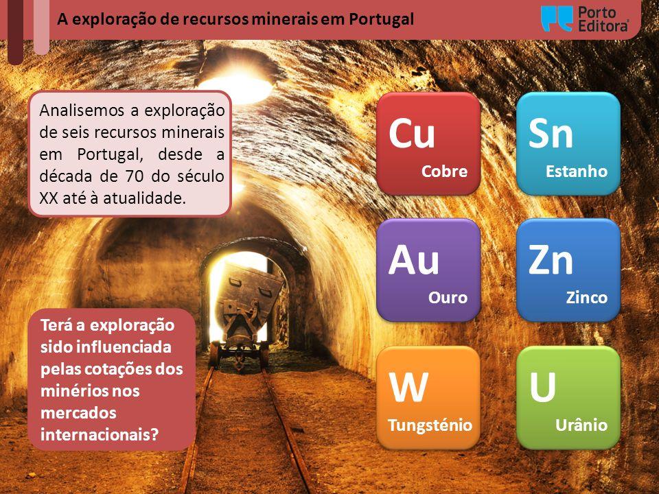 A exploração de recursos minerais em Portugal Analisemos a exploração de seis recursos minerais em Portugal, desde a década de 70 do século XX até à a
