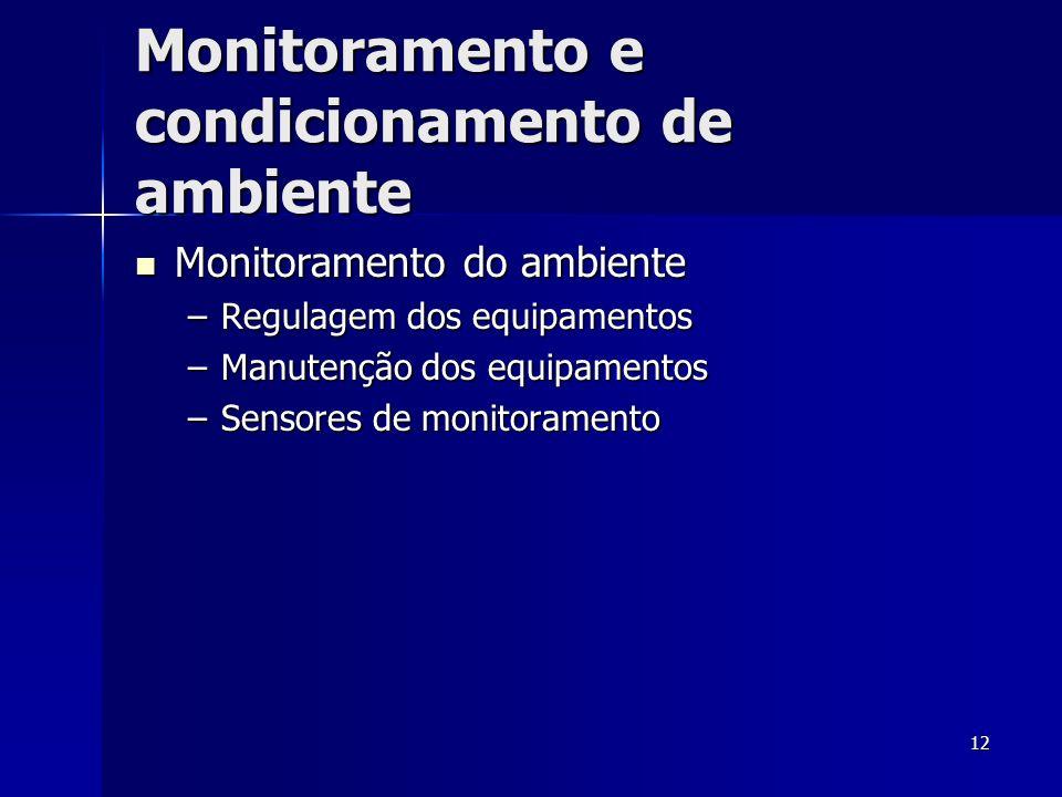 12 Monitoramento e condicionamento de ambiente Monitoramento do ambiente Monitoramento do ambiente –Regulagem dos equipamentos –Manutenção dos equipam