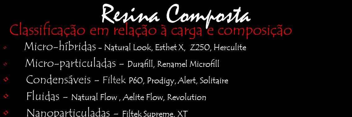 Resina Composta Micro-híbridas - Natural Look, Esthet X, Z250, Herculite Micro-particuladas - Durafill, Renamel Microfill Condensáveis - Filtek P60, P