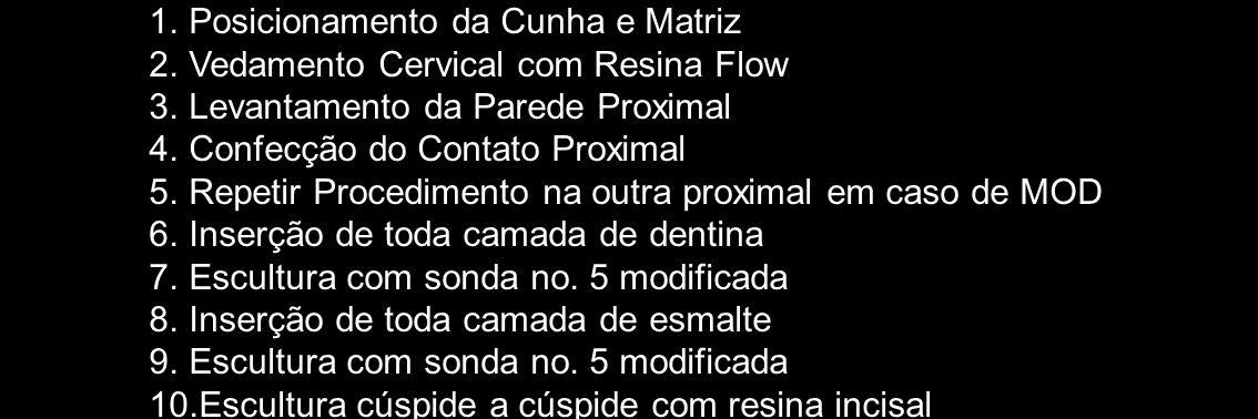1.Posicionamento da Cunha e Matriz 2.Vedamento Cervical com Resina Flow 3.Levantamento da Parede Proximal 4.Confecção do Contato Proximal 5.Repetir Pr