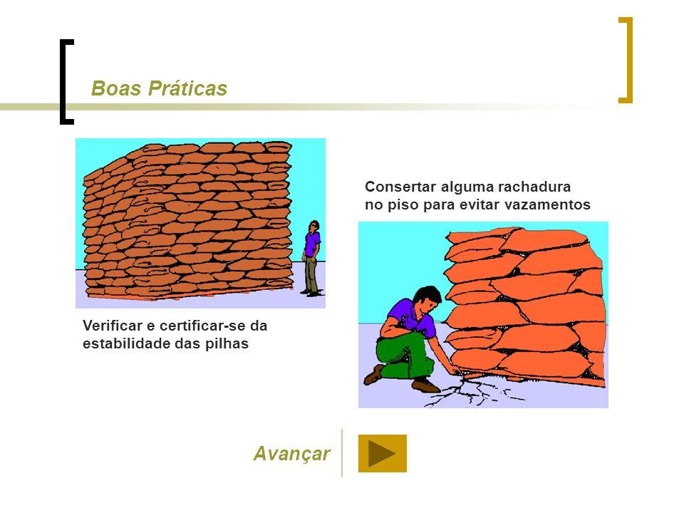 Verificar e certificar-se da estabilidade das pilhas Consertar alguma rachadura no piso para evitar vazamentos Boas Práticas Avançar