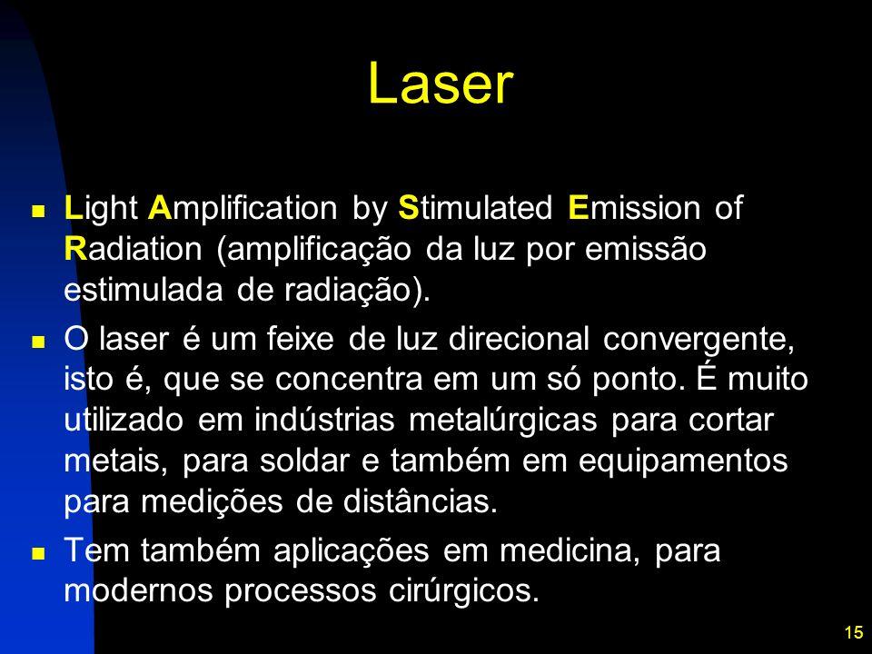 15 Laser Light Amplification by Stimulated Emission of Radiation (amplificação da luz por emissão estimulada de radiação). O laser é um feixe de luz d