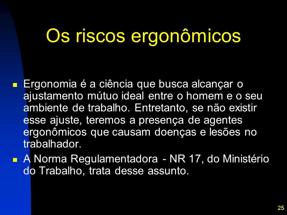 25 Os riscos ergonômicos Ergonomia é a ciência que busca alcançar o ajustamento mútuo ideal entre o homem e o seu ambiente de trabalho. Entretanto, se