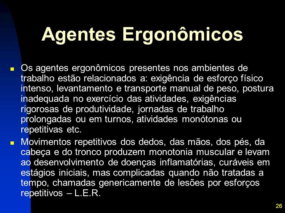 26 Agentes Ergonômicos Os agentes ergonômicos presentes nos ambientes de trabalho estão relacionados a: exigência de esforço físico intenso, levantame