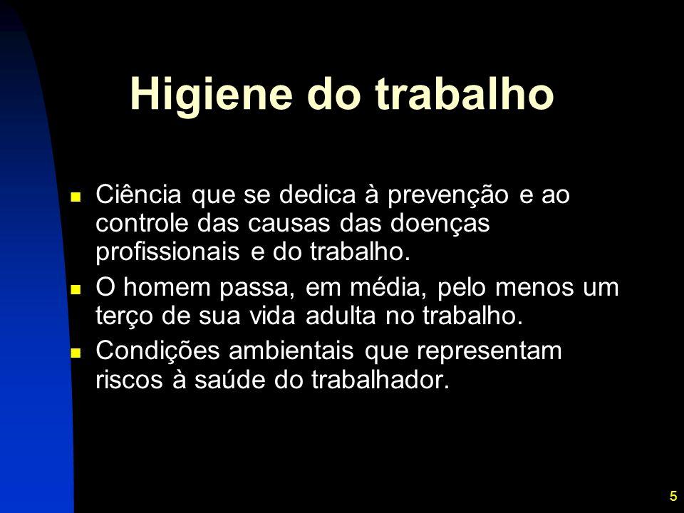 5 Higiene do trabalho Ciência que se dedica à prevenção e ao controle das causas das doenças profissionais e do trabalho. O homem passa, em média, pel