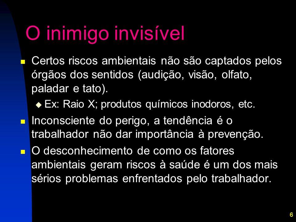 6 O inimigo invisível Certos riscos ambientais não são captados pelos órgãos dos sentidos (audição, visão, olfato, paladar e tato). Ex: Raio X; produt