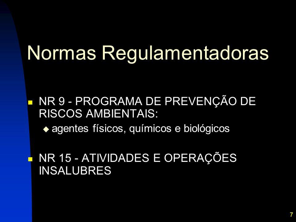 7 Normas Regulamentadoras NR 9 - PROGRAMA DE PREVENÇÃO DE RISCOS AMBIENTAIS: agentes físicos, químicos e biológicos NR 15 - ATIVIDADES E OPERAÇÕES INSALUBRES