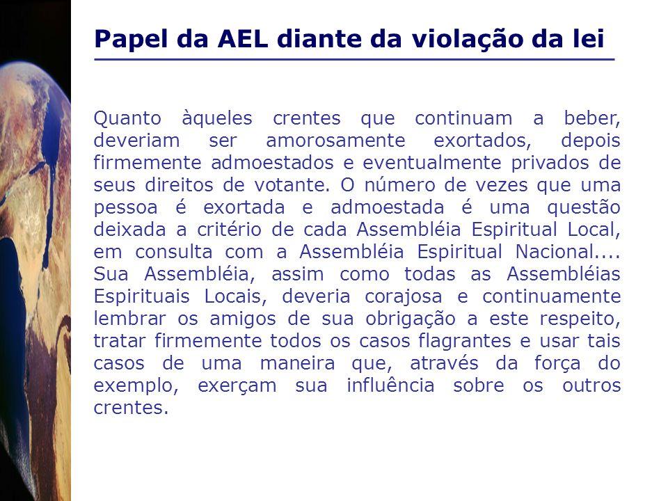 Papel da AEL diante da violação da lei Quanto àqueles crentes que continuam a beber, deveriam ser amorosamente exortados, depois firmemente admoestado