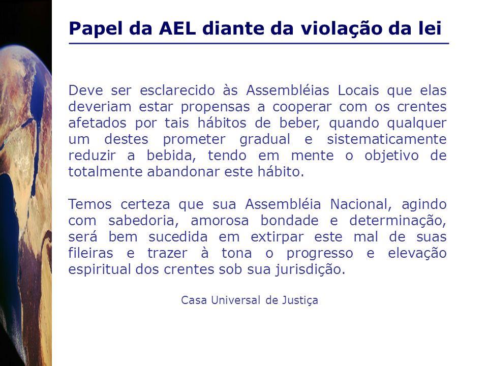 Papel da AEL diante da violação da lei Deve ser esclarecido às Assembléias Locais que elas deveriam estar propensas a cooperar com os crentes afetados